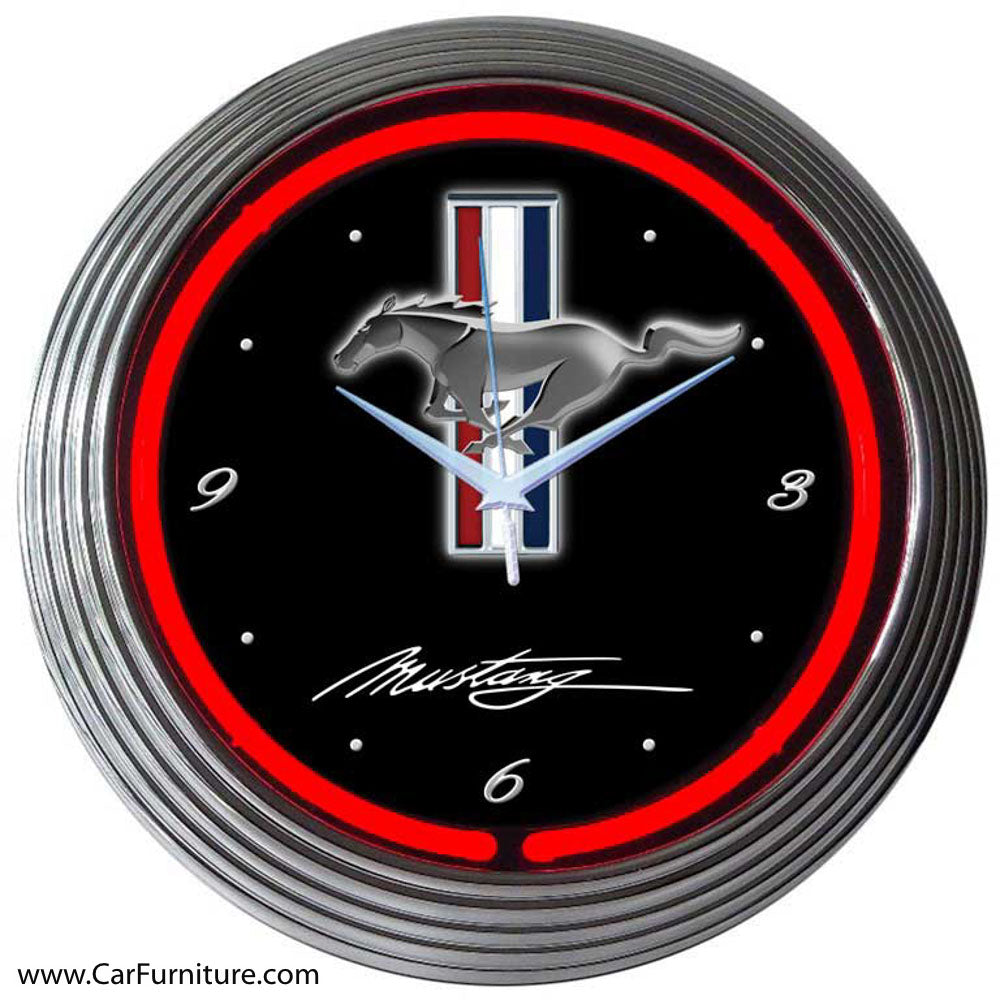 Game Room Man Cave: Ford Mustang Red Neon Clock