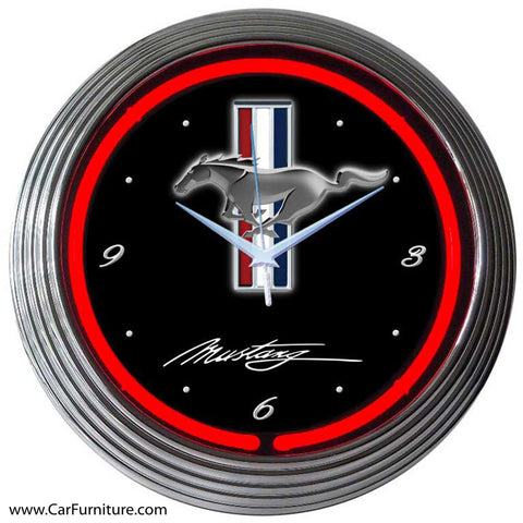 Ford Mustang Red Neon Clock