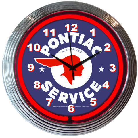 Pontiac Service Red Neon Clock