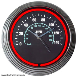 Speedometer Red Neon Clock