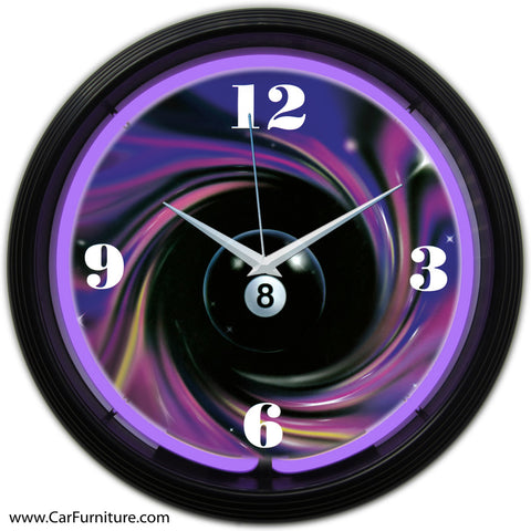 Purple 8 Ball Neon Clock