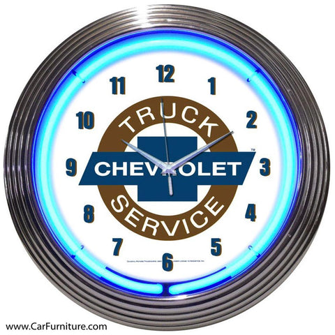 GM Chevy Truck Service Neon Clock
