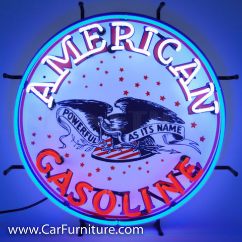 American Gasoline Neon Sign with Backing