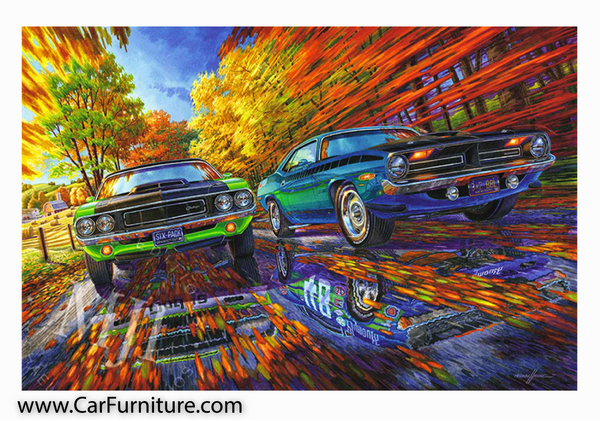 Born-To-Race-Car-Painting-1970-Dodge-Challenger-AAR-Cuda-www.CarFurniture.com