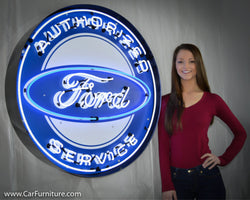 Authorized Ford Service Large Neon Sign in Steel Can