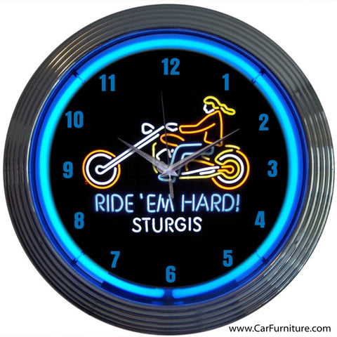 Ride Hard Motorcycle Blue Neon Clock
