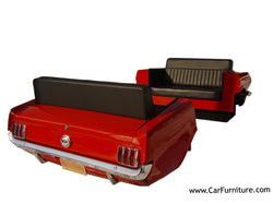 Red-1965-Ford-Mustang-Car-Front-and-Back-Retro-Vintage-Diner-Booth-Set-Couch-Sofa-Decor-www.CarFurniture.com