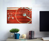 Burnt Woodgrain Old English Canvas Art