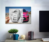 Camera vs Pencil Car Canvas Art