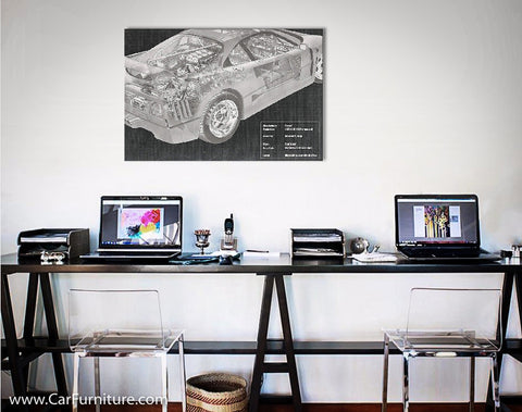 Car Engine and Interior X-Ray Blueprint Canvas Print