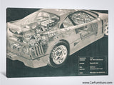 Car Engine and Interior X-Ray Blueprint Teal Canvas Print