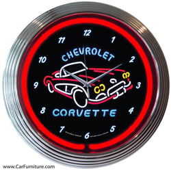 Chevrolet Corvette Red Neon Clock