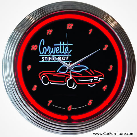 Chevrolet Corvette Stingray Red Neon Clock