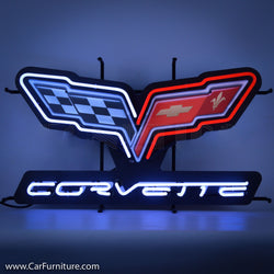 Chevy Corvette Racing Flags Neon Sign