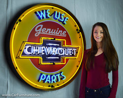 "Chevy Genuine Parts Large 36"" Neon Sign in Steel Can"