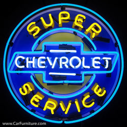 Chevrolet Super Service Neon Sign with Backing