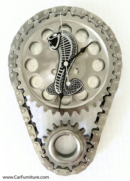 Shelby-Cobra-Emblem-Engine-Timing-Gear-Steel-Wall-Clock-www.CarFurniture.com