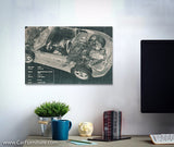 Convertible X-Ray Car Blueprint #2 Teal Canvas Art