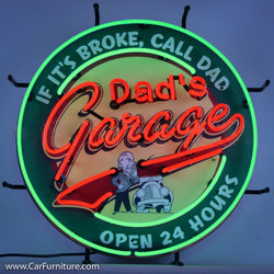 Dad's Garage Green Neon Sign with Backing