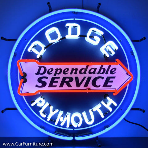 Dodge Dependable Service Neon Sign with Backing