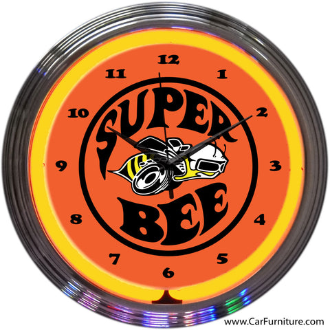 Dodge Super Bee Yellow Neon Clock
