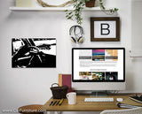 Driving Modern Black and White Canvas Art