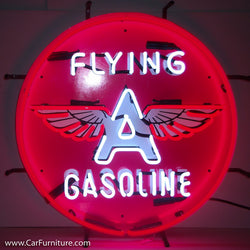 Flying A Gasoline Neon Sign with Backing