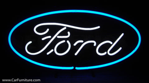 Ford Oval Neon Sign on Metal Grid