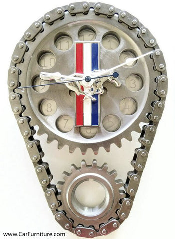 TRI-STRIPE FORD MUSTANG ENGINE TIMING GEAR CLOCK