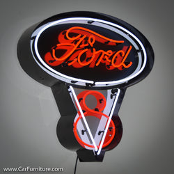 Ford V8 Engine Steel Neon Sign