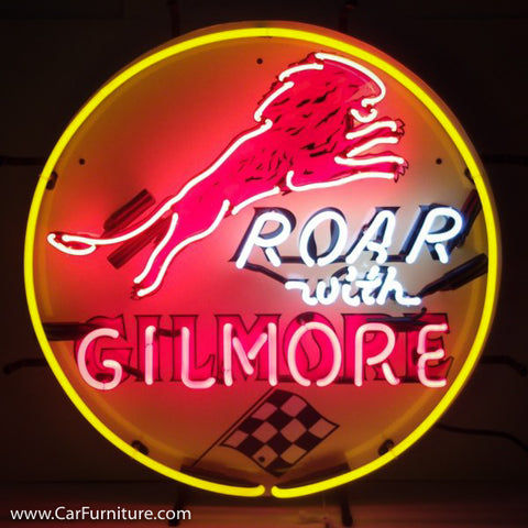 Roar with Gilmore Gasoline Neon Sign with Backing
