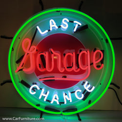 Last Chance Garage Green Neon Sign with Backing