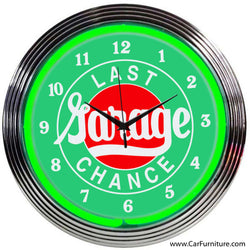 Last Chance Garage Vintage Neon Clock