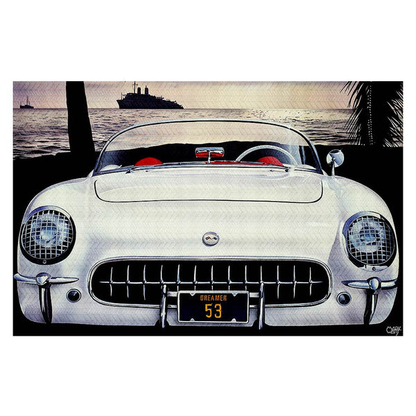 A 1953 Corvette in India Ivory color on the beach at dusk - Mark Watts -Corvette-Area-Rug-Retro-Decor-www.CarFurniture.com