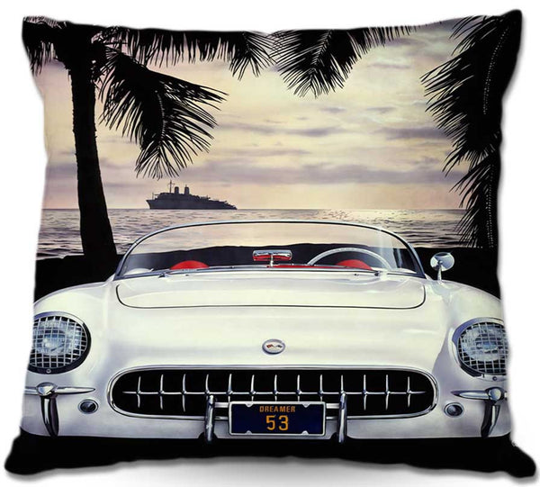 A 1953 Corvette in India Ivory color on the beach at dusk - Mark Watts -Corvette-Throw-Pillow-Accent-Retro-Decor-www.CarFurniture.com