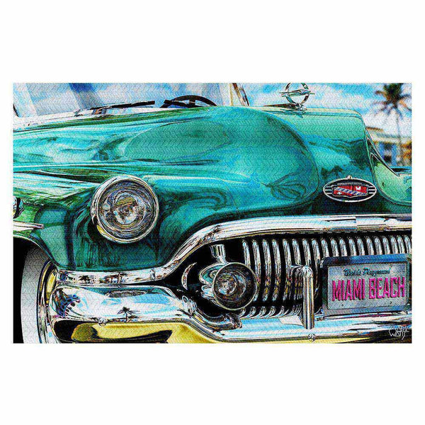 Teal-1951-Buick-Roadmaster-on-Miami-Beach-Retro-Art-Home-Decor-Tropical-Classic-Car-Area-Rug-Carpet-www.CarFurniture.com