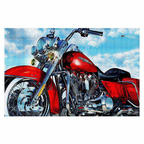 Classic-Red-Harley-Davidson-Rug-Art-Painting-Mark-Watts-Home-Decor-www.CarFurniture.com