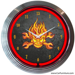 Mechanic Fire Skull Neon Clock