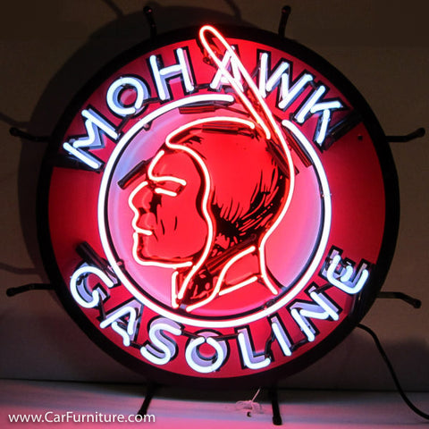 Mohawk Gasoline Neon Sign with Backing