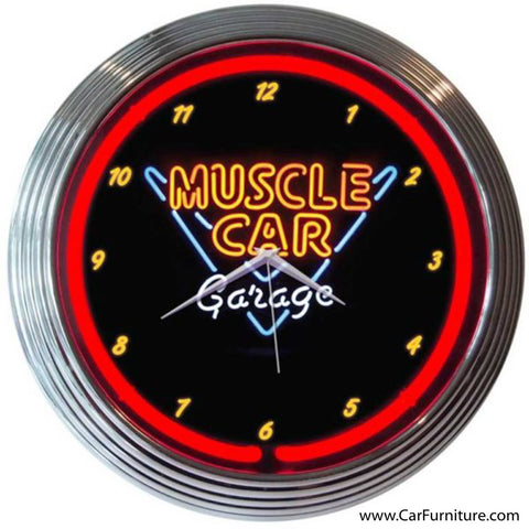 Muscle Car Garage Red Neon Clock