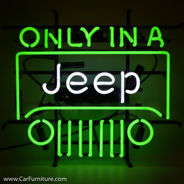 Only in a Jeep Neon Sign on Metal Grid