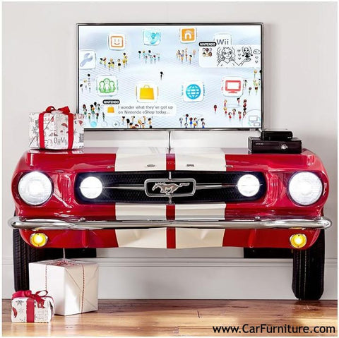 Ford Red and White Console Table Entertainment Center Front Bumper www.CarFurniture.com
