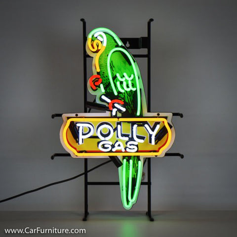 Polly Shaped Gas Green Neon Sign with Backing