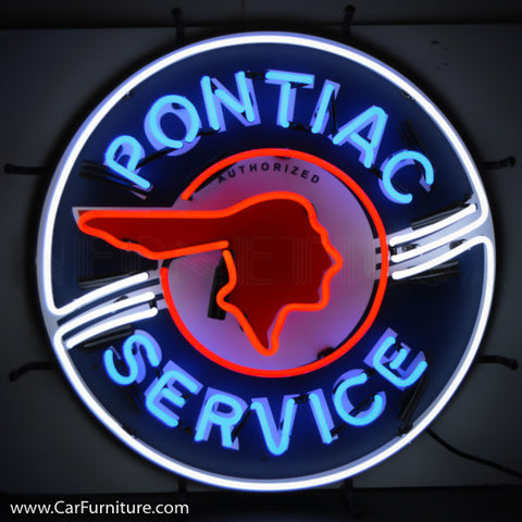 Pontiac Service Neon Sign with Backing