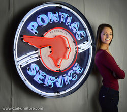 "Pontiac Service Large Neon Sign - 36"" in Steel Can"