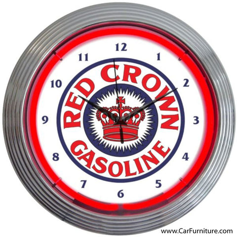 Red Crown Gasoline Vintage Red Neon Clock