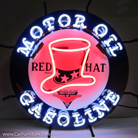 Red Hat Motor Oil Gasoline Neon Sign with Backing