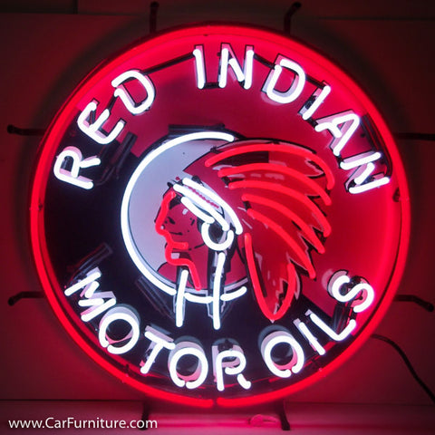 Red Indian Motor Oil Neon Sign with Backing