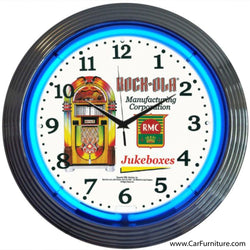 Rockola Retro Jukebox Blue Neon Clock