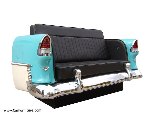 '55 Chevy Bel Air Couch created from a real trunk section of a car www.CarFurniture.com